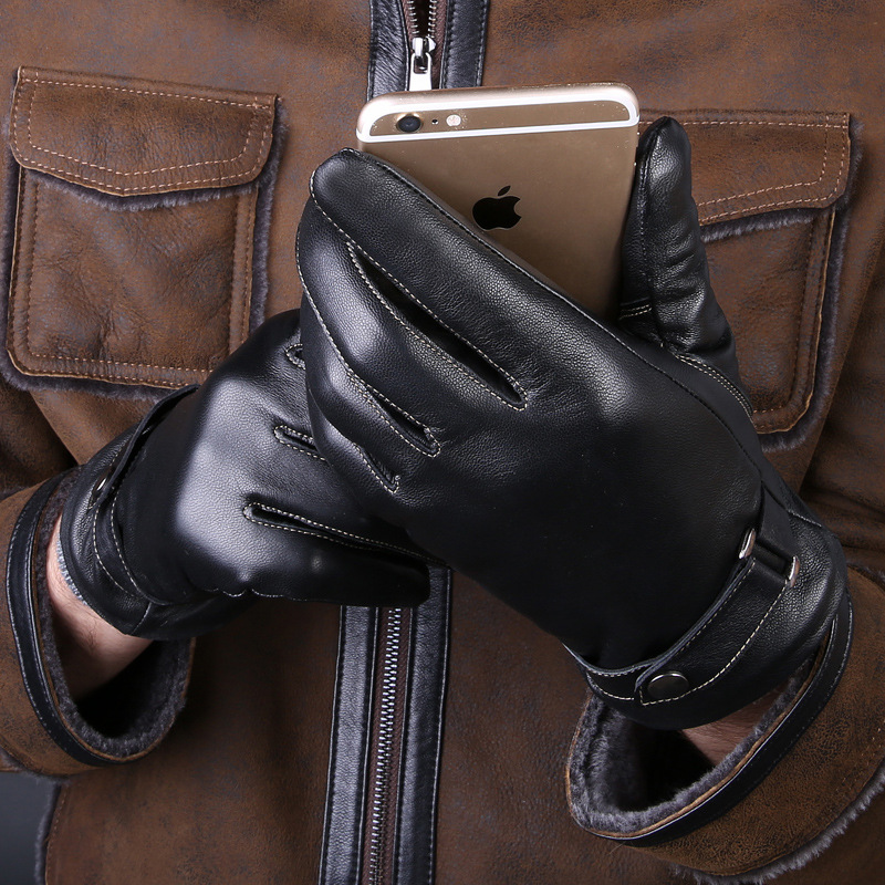 Men's 100% Genuine Leather Gloves Winter Warm Plus Velvet Touch Gloves Outdoor Riding Gloves Male Driving Sheepskin Wholesale
