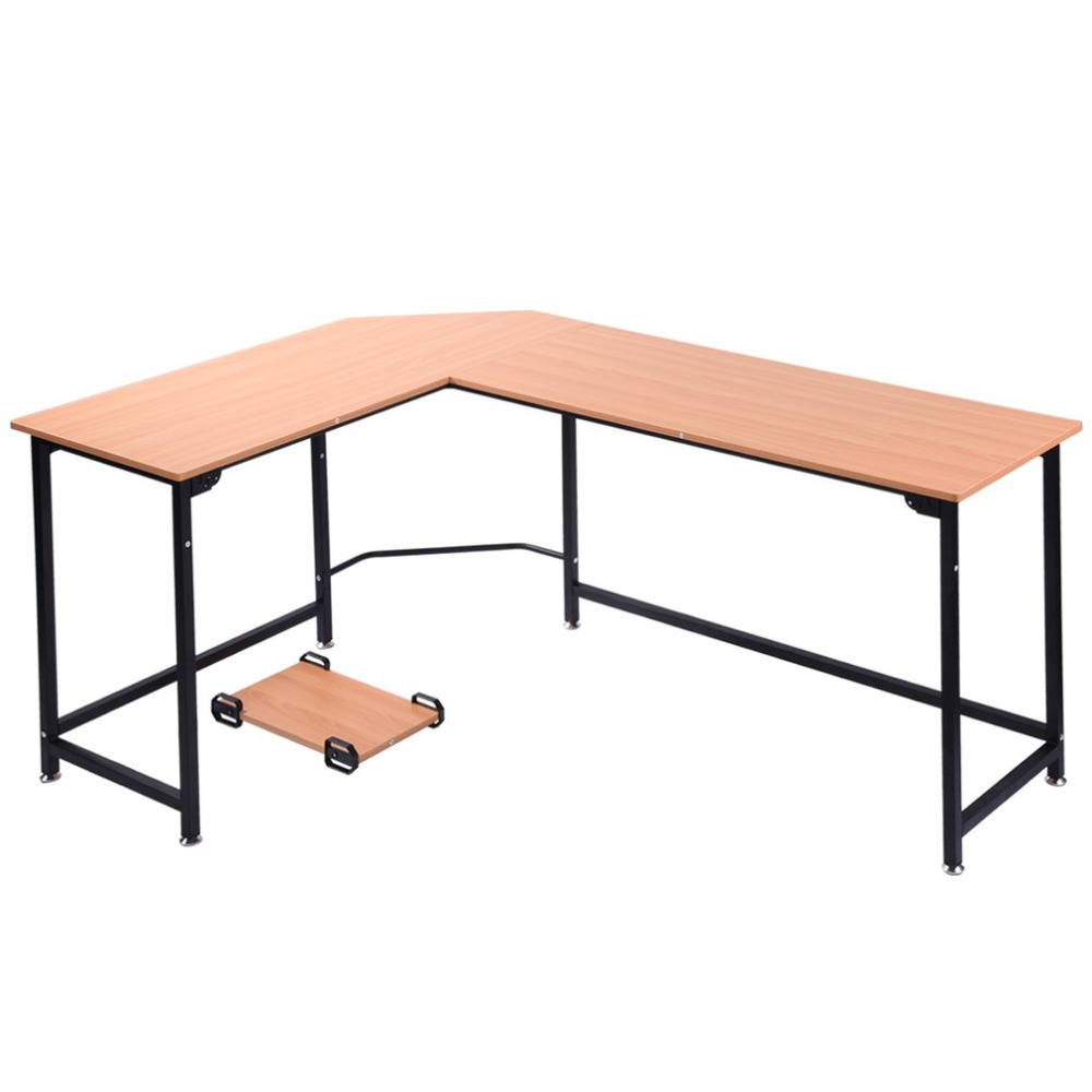 Study Wide Space Saving excellent Stablility Home Office Table Workstation L-Shaped PC L ...