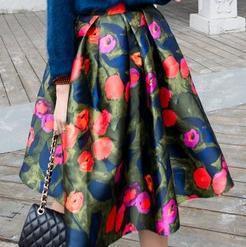 Nova Fêmea Do Vintage Alta Waisted Moda Floral Imprimir Plissada Saia saias Tutu cor