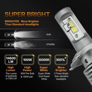 Zdatt 2 قطعة عالية الطاقة H4 Led لمبة 100 W 14600LM السيارات المصابيح الأمامية H4 H8 H9 H11 سيارة مصباح ليد 12 V سيارات