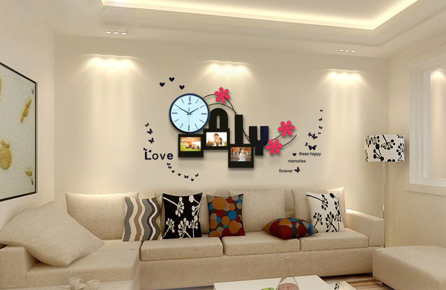 Fashion Mute Quartz Movement Frame Living Room Watch Large Wall - living room clock