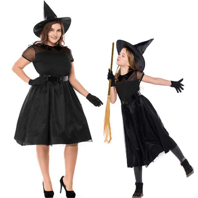 Halloween Mother Daughter black Witch Dress Grim Reaper Scary parent-child Witch Cosplay Costume Masquerade Costumes for Family