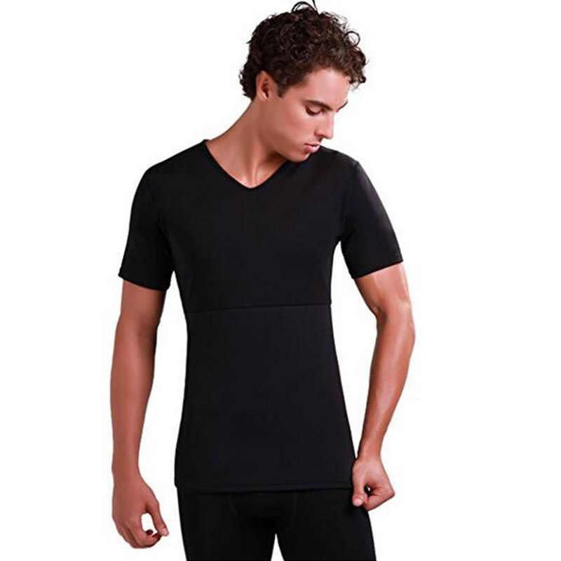 Solide Nieuwe Mode mannen Gym T-Shirts Neopreen Sauna Ultra dunne Zweet Shirt Body Shaper Effen afslanken Corset Fitness Sportwear