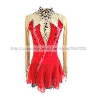 Фигурное катание платье Для женщин девочек Катание на коньках платье роликовые коньки красные длинные рукава открытой спиной стиль стоячи