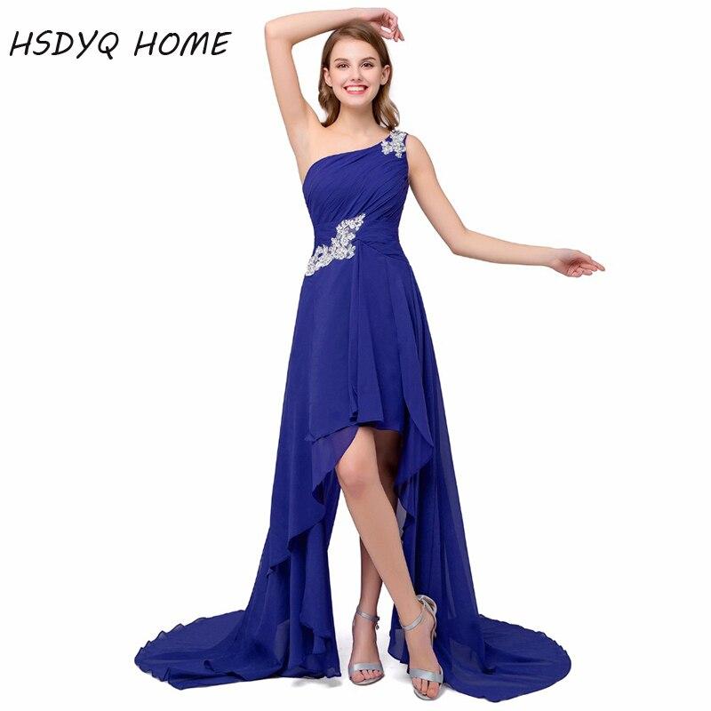 HSDYQ accueil une épaule bleu Royal robes de demoiselle d'honneur salut-bas robes de fête robes de bal de mariage formelles