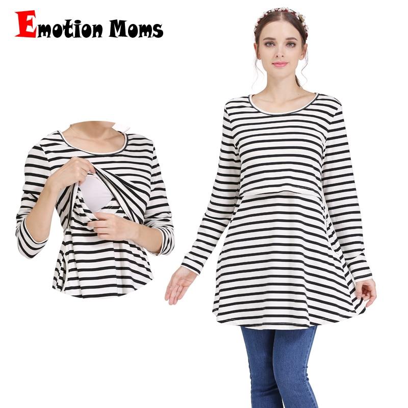 Emotion Moms Långärmad mammakläder Graviditet Sjuksköterska Bröstmatningsklänningar för gravida kvinnor Laktationskläder