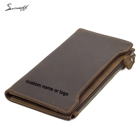 Multi Card Holders Men Wallet Luxury Genuine Leather Purses Zipper Phone Pocket Custom Name Long RFID