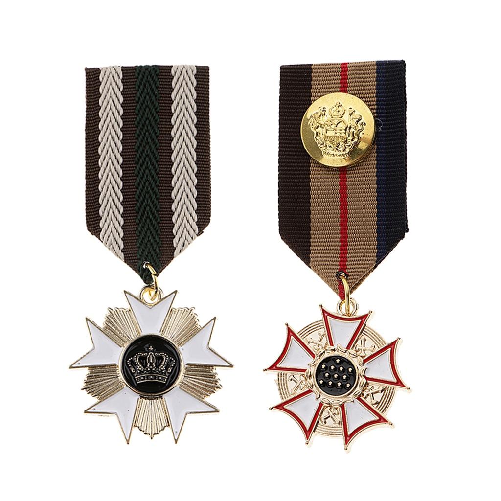 Broche geométrico militar masculino, 2 peças uniforme medalhão lapela broche eáguia estrela gótico