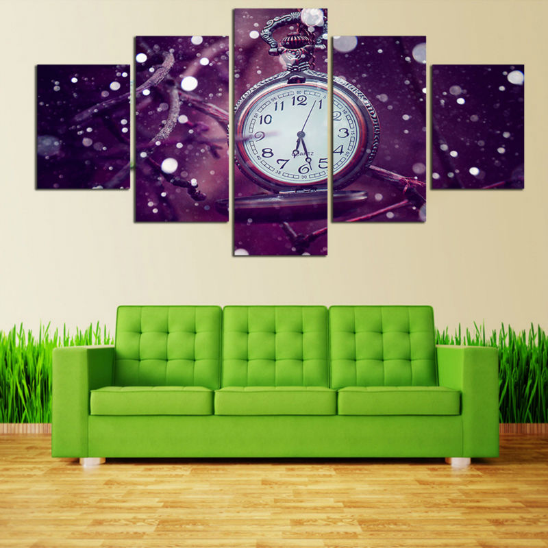 Aliexpress Com Buy Hdartisan Wall Canvas Art Pictures: 5 Pcs Watch Canvas Painting Purple Background Clock Wall