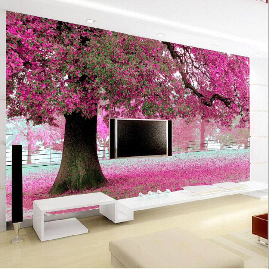 Stereoscopic Wall Paper Pink Bedroom Tv Backdrop Self Adhesive Non Woven Wallpaper Murals Past Cherry Tree In Wallpapers From Home Improvement On