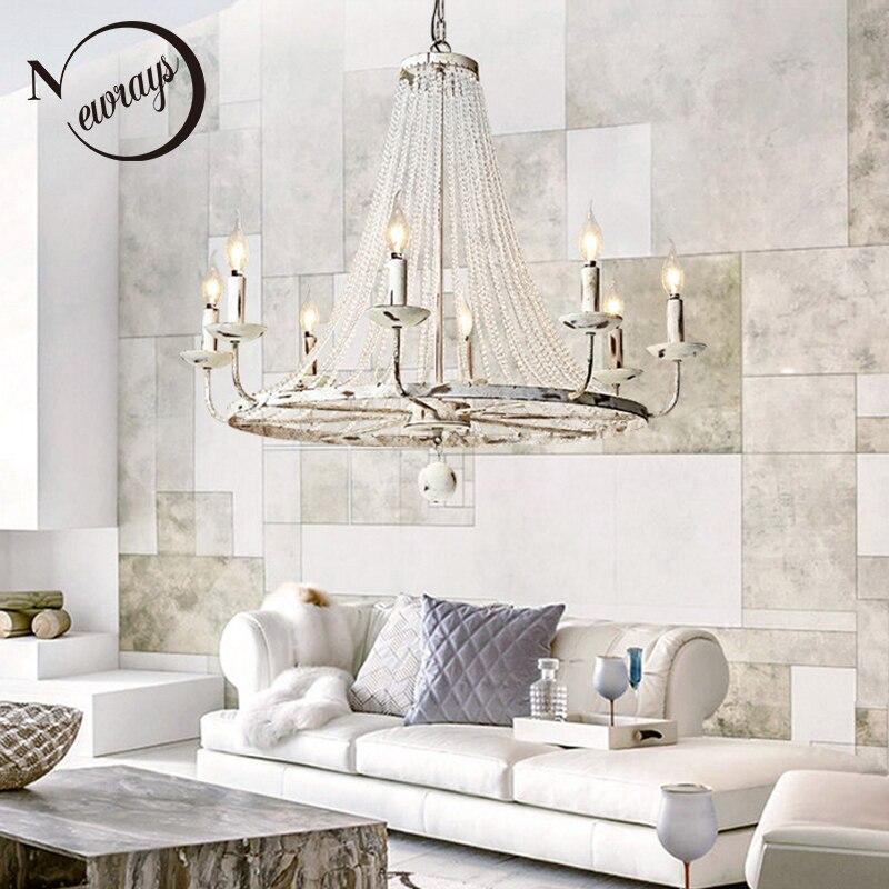 Rétro Vintage de luxe Américain pays style big cristal CONDUIT lustre lampe lustres moderne E14 lumières pour hôtel salon