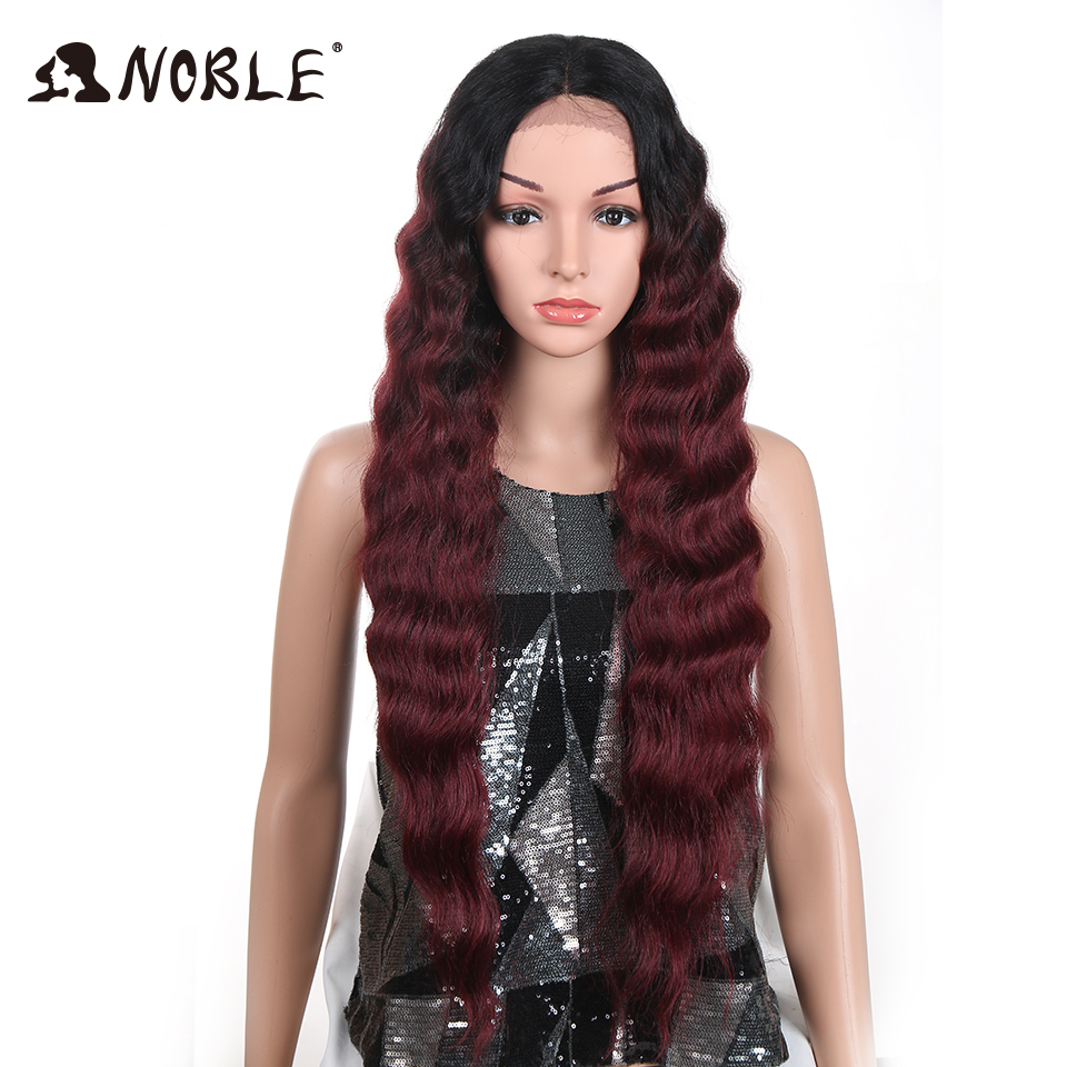 Noble 32 Inch Glueless Heat Resistant Hair Long Deep Wavy T Lace Front Wigs Ombre Red Synthetic Lace Front Wigs For Black Women