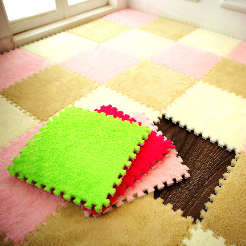 1PC 30*30*1cm EVA Plush Puzzle Mats Foam Shaggy Velvet Carpet Decorative Kids Room For Crawling Play Toys 8 Colors