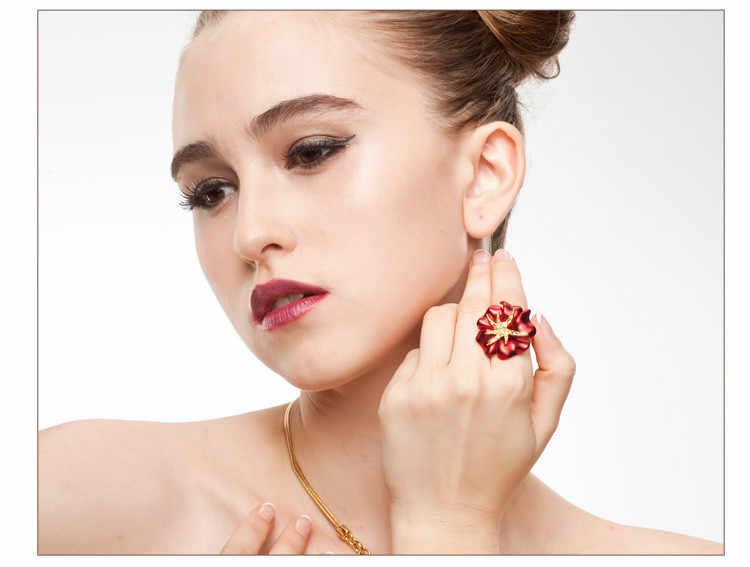 Персонализированное кольцо в виде морской звезды, золотого цвета, эмаль, красное и синее кольцо, модное ювелирное женское кольцо бижутерия