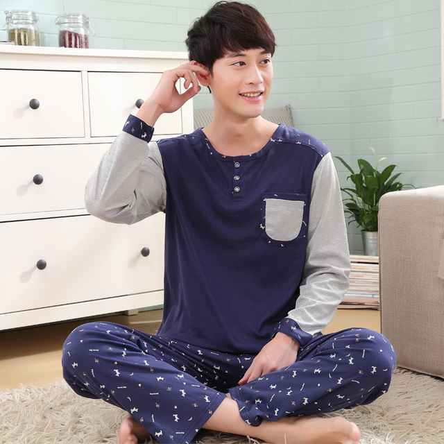 spring and autumn long-sleeved cotton pajamas suit  casual cotton pajamas tracksuit casual indoor