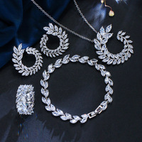 Wedding Bridal Jewelry Sets Cubic Zirconia Crystal Jewerly necklace,earrings,ring,bracelet Sets For Women Fashion Jewelry