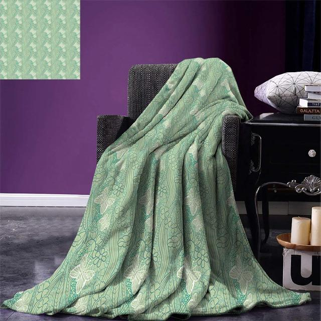 Green Throw Blanket Lace Style Graphic Pattern Of Flourishing Forest Extraordinary Forest Green Throw Blanket