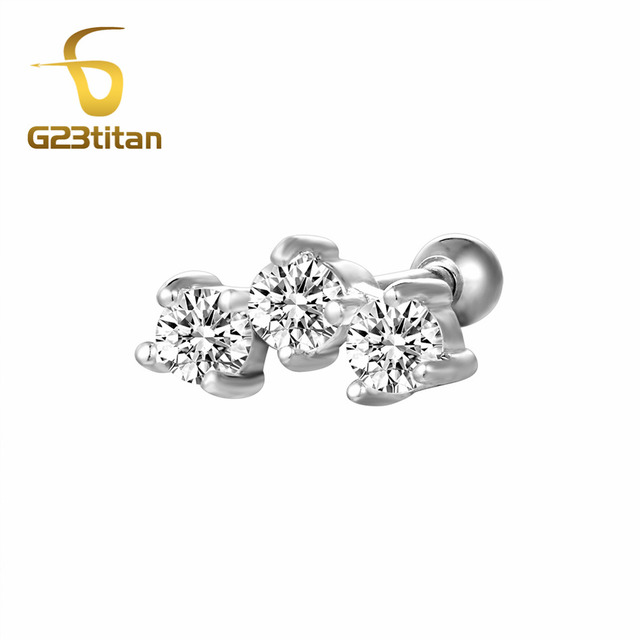 8d41c23fa G23titan Hot Body Jewelry Crystal Ear Plugs Ear Tragus Helix Piercing 16G  Titanium Labret Studs Piercing For Women Men