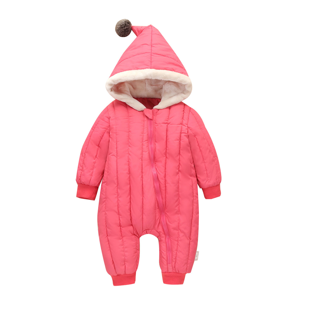 2017 New Baby Romper Winter Thick Cotton Newborn Girls Boys Coats Warm Hooded Down Jumpsuit Autumn Fashion Kid Clothes Outerwear autumn winter baby hats new fashion children warm ball hat double color boys and girls cotton caps beanies baby knitted hat