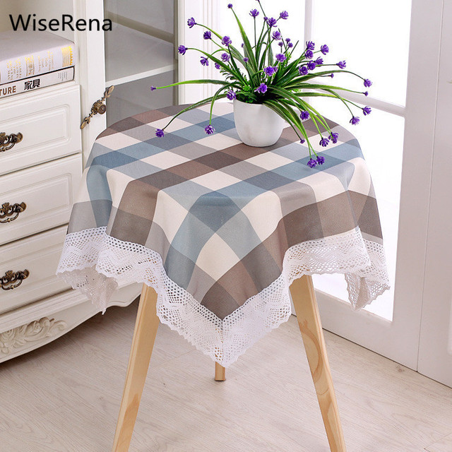 Brief Modern Plaid Waterproof Round Table Cloth Square Rectangle Dining  Table Tablecloth Nightstand Refrigerator Cover Toalha