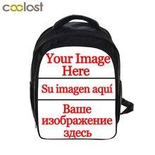 24f70011cdd0 На заказ ваше изображение логотипа имя Рюкзак 13 дюймов мультфильм детский  сад рюкзак для мальчиков и девочек Школьные сумки Дет..