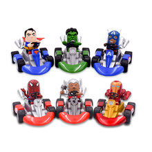 цена на 6 Styles Western Animiation Kart Pull Back Car Iron Man Superman Captain Thor Hulk PVC Action Figure Doll Collectible Model Toy