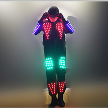 Cool RGB Color LED Growing Suits Robot Costume Men LED Luminous Clothing Dance Wear For Night