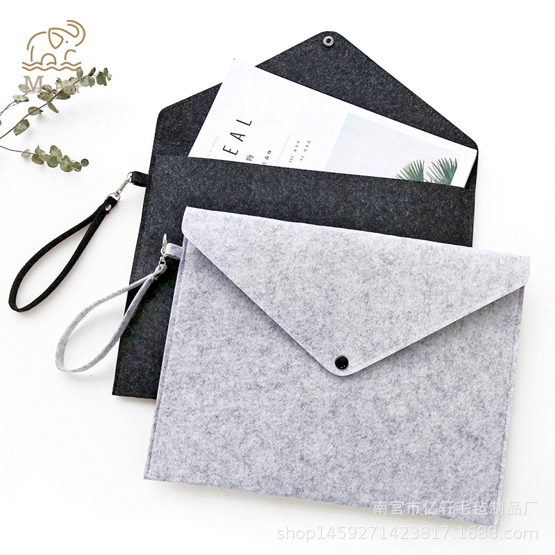 Simple Solid Wool Felt A4 File Folder Big Capacity Document Bag Simple Business Briefcase Paper Ipad Storage Bag School Gifts