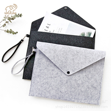 Simple Solid Wool Felt A4 File Folder Big Capacity Document Bag Business Briefcase Paper Ipad Storage School Gifts