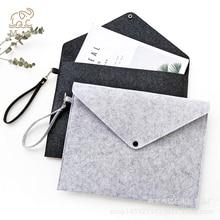 Simple Solid Wool Felt A4 File Folder Big Capacity Document Bag Simple Business Briefcase Paper Ipad Storage Bag School Gifts недорого