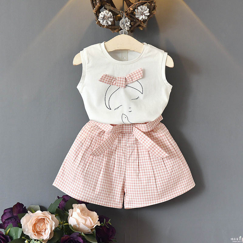 Girls Clothing Set 2019 New Summer Toddler Girl Outfit Printed Top Plaid Shorts 2PCS Kids Sets 2 3 4 5 6 7 Years Girls Clothes in Clothing Sets from Mother Kids
