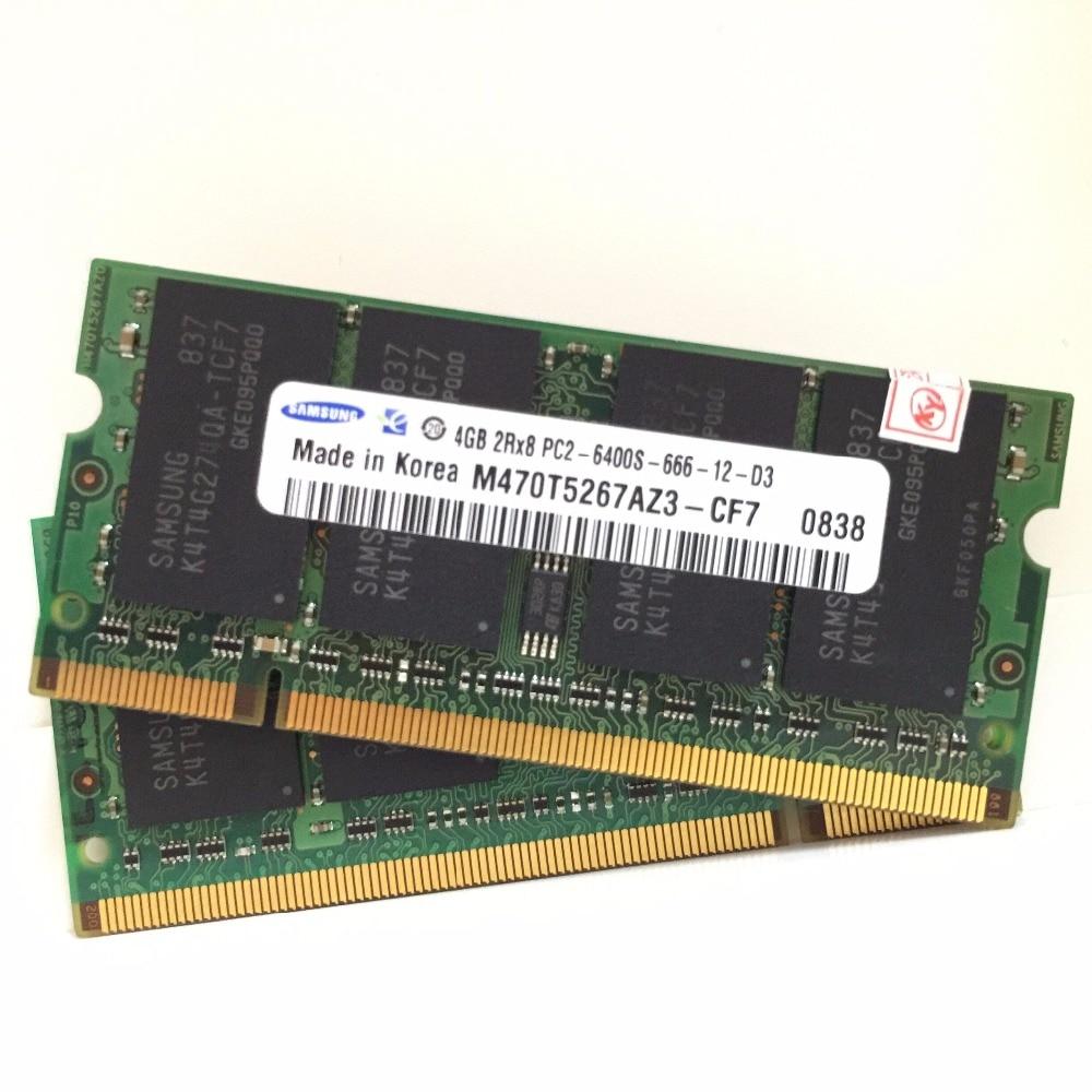Samsung 4 gb 4g PC2-6400s PC2 6400 s 6400 DDR2 800 mhz 800 mhz Module mémoire D'ordinateur Portable RAM D'origine