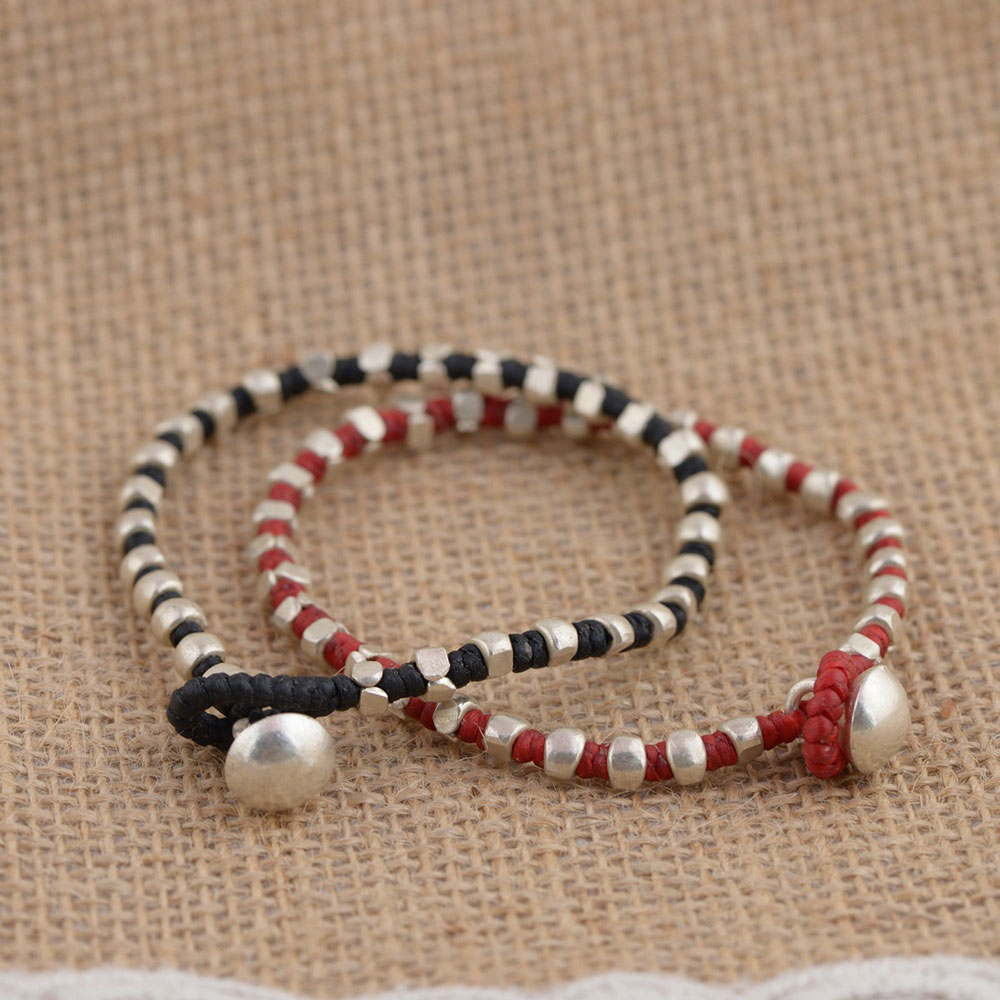 FNJ 925 Silver Beaded Bracelet 17.5cm Weaving Black Red String 100% Original S925 Thai Silver Bracelets for Women Jewelry ethnic wind bracelets men and women decorations green agate 925 silver ball duobao string original jewelry