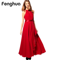 Fenghua Summer Dress For Women Party Dresses Vintage Chiffon Convertible Long Casual Plus Size Spaghetti Strap