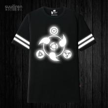 Fluorescent Naruto T shirt font b Anime b font Uchiha Sasuke Syaringan Cosplay Cotton T Shirt