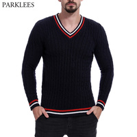 Fashion Hit Color Patchwork Striped V Neck Sweater Men 2018 Autumn Winter Mens Knitted Sweaters Casual Slim Fit Pullover Male