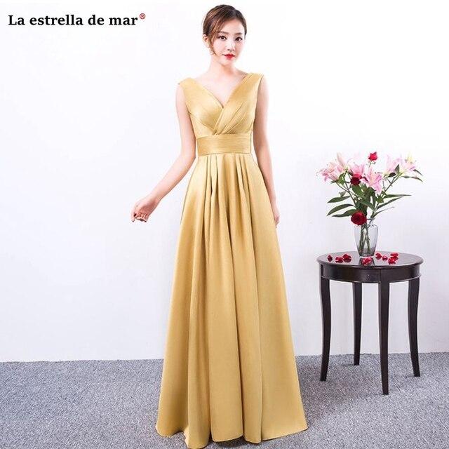 Vestido madrinha2018 new sexy V neck a Line satin gold bridesmaid dresses  long simple sukienka na wesele dla kobiety 87c53e9ee611