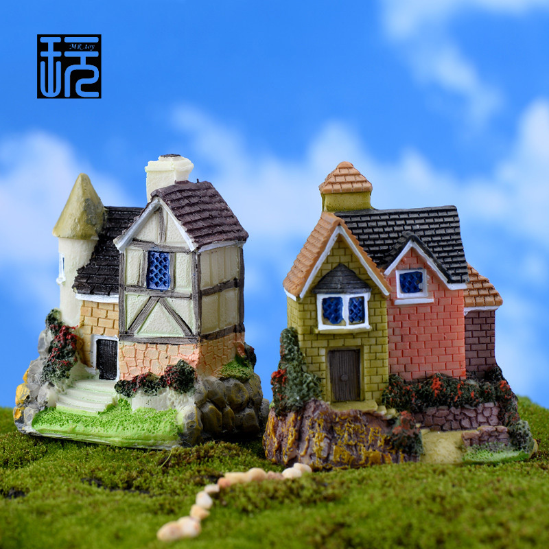 Zakka Resin Villa Crafts Country House Model Mini DIY Fairy Garden Miniatures Home/ Succulents/ Micro Moss Landscape Decoration