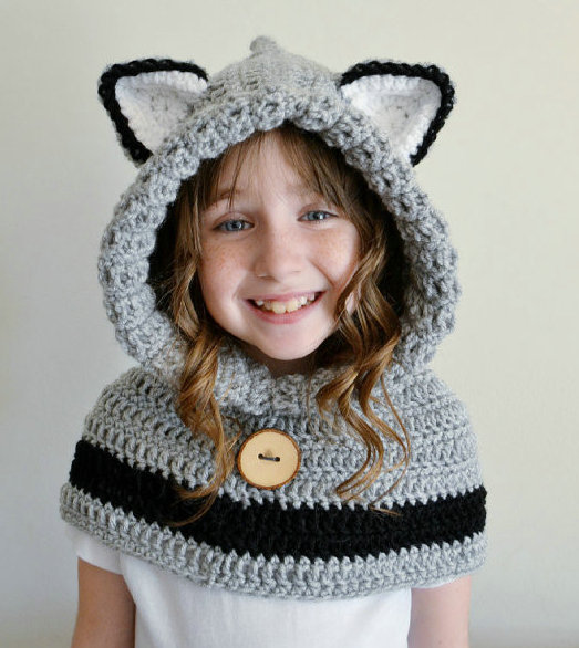 Hooded Bear Cowl Animal Hat Hooded Scarf Crochet Hoodie Shawl