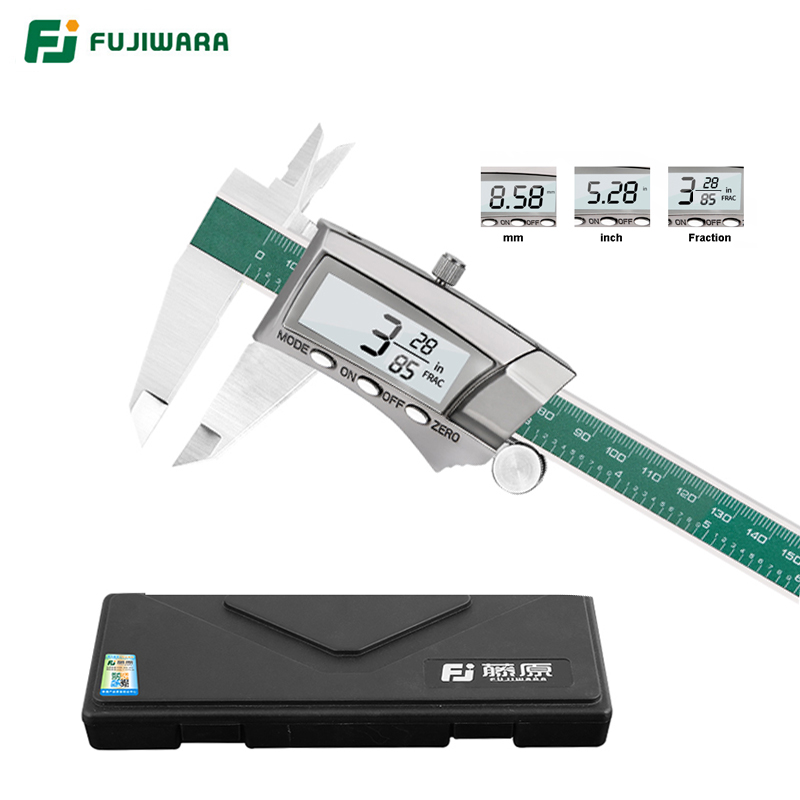 FUJIWARA 0-150mm Digital Display Stainless Steel Caliper 1/64 Fraction/MM/Inch LCD Electronic Vernier Caliper