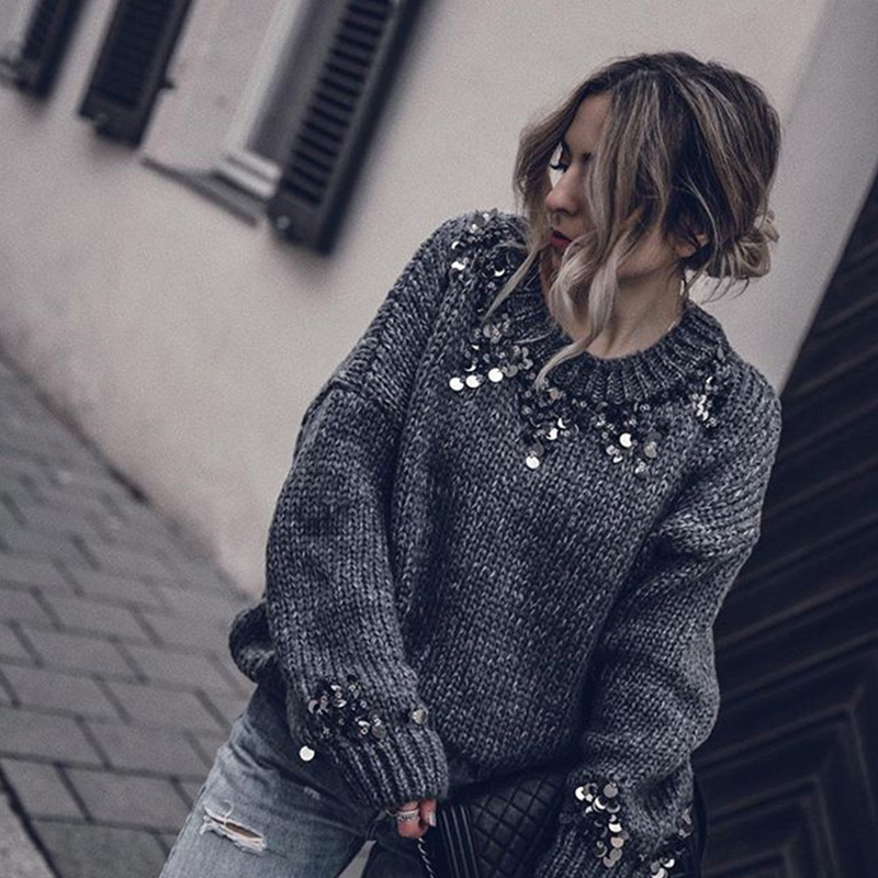 fashion sequins sweater New Design Spring Sweater For Women Long Sleeve Tops Ladies Pullover Female Sequin Sweater Solid Jumper