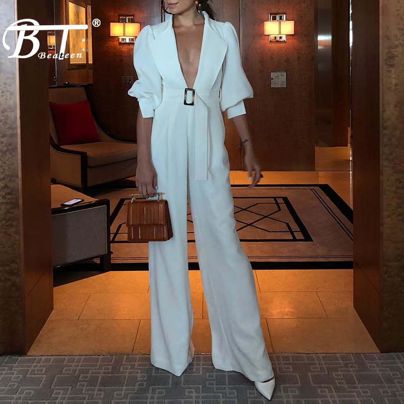 Beateen 2019 New White Sexy Deep V Neck Mid-Sleeve Lapel Puff Sleeve Office Lady Party   Jumpsuit   With Belt