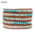 Kelitch American Bohemia 5 Wrap Beads Genuine Leather Silver Plated Clasp Adjustable Friendship Multilayers Cuff Women Bracelets