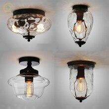 מודרני Creative זכוכית תקרת אורות אירופאי רטרו מסדרון מסעדה lustres תקרת מנורות קריסטל אננס זכוכית Plafonnier