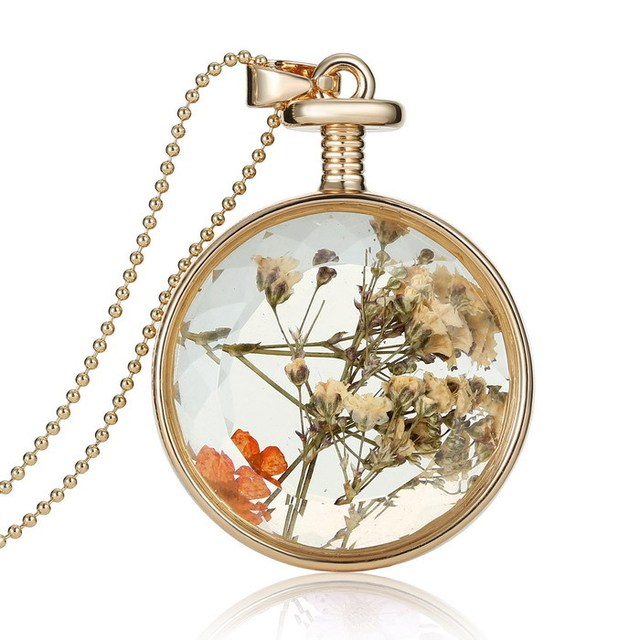 2018 popular new round glass locket necklace women dried flower 2018 popular new round glass locket necklace women dried flower locket inside pendant necklaces jewelry free mozeypictures Images