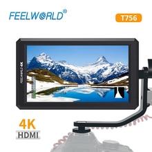 "FEELWORLD T756 7 ""4 K على كاميرا شاشة مع وصلةٍ بينيةٍ مُتعددة الوسائط وعالية الوضوح الإدخال/الإخراج IPS كامل HD 1920x1200"