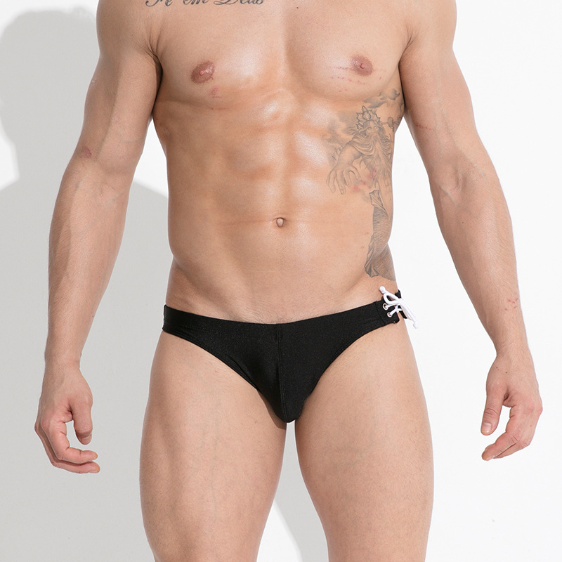 GANYANR Brand Swimming Trunks Gay Mens Swimwear Swimsuit Swim Briefs Bikini Bathing Shorts Sunga Low Waist Beach Bulge Solid in Body Suits from Sports Entertainment