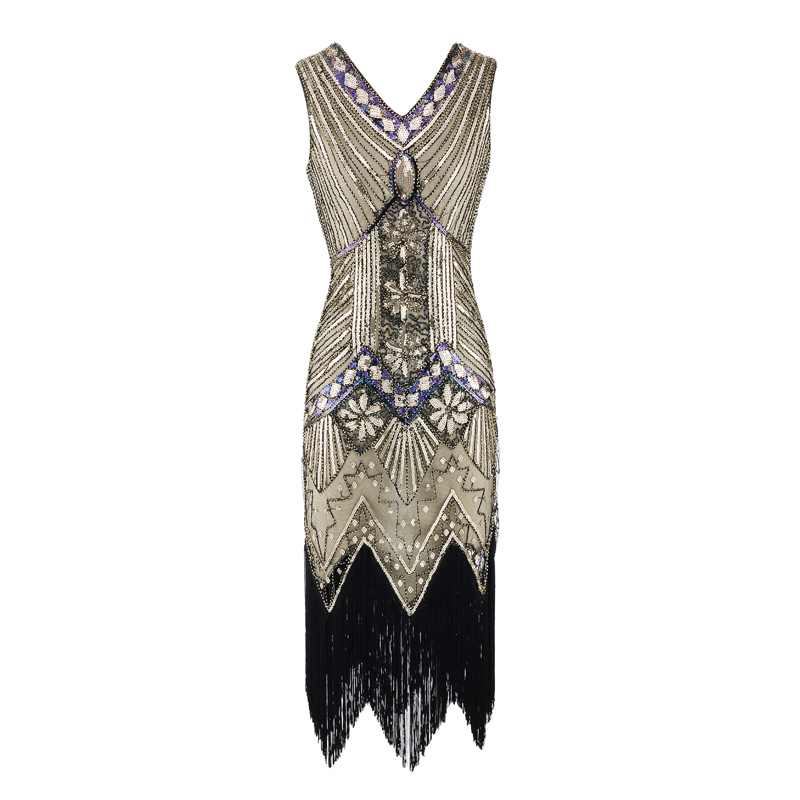 Women Vintage 1920s Fler Dress V Neck Sequined Fringed Tail Party 20s Gatsby Costume For Prom