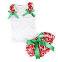 xmas bianco bambino pettitop & red snowflakes increspature & kelly verde archi con kelly green bow red snowflakes raso bloomers MALD223