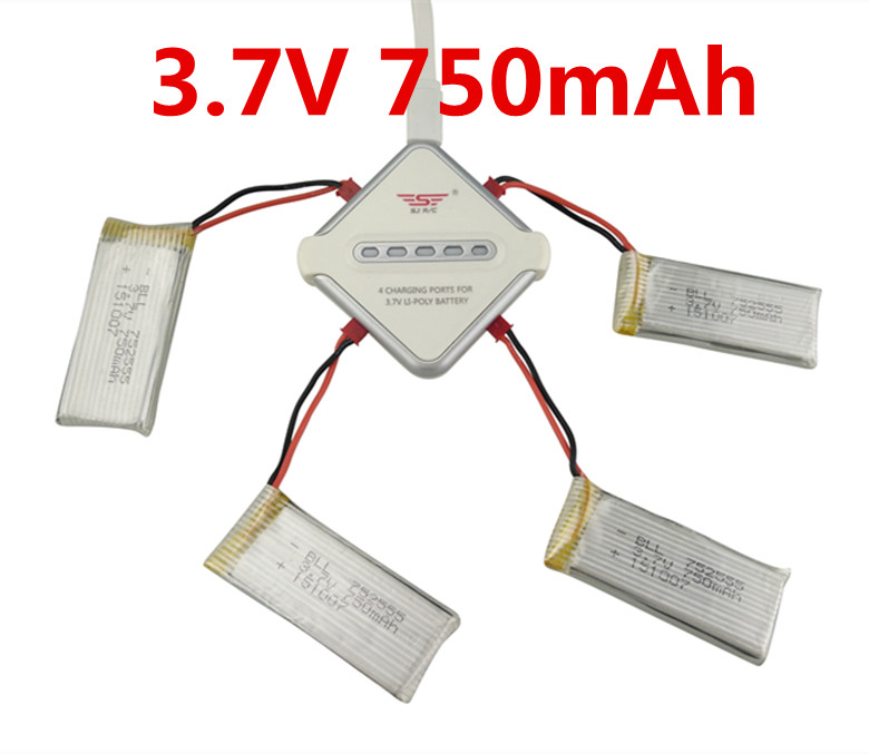 BLL Sync Charging 4in1 5V/2A JST 750mAh Battery Charger Adapter Kits For H12C H12W F181 JXD 510 509 509W 509G 1315 Drone bll sync charging 4in1 5v 2a jst 3 7v 1100mah battery charger adapter kits for h11d h11 h11c drone fochutech battery